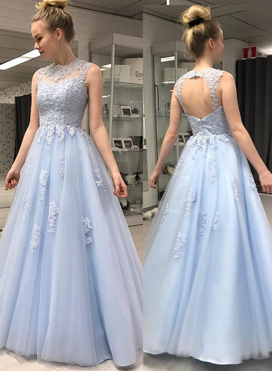 Light blue round neck tulle lace long prom dress, evening dress