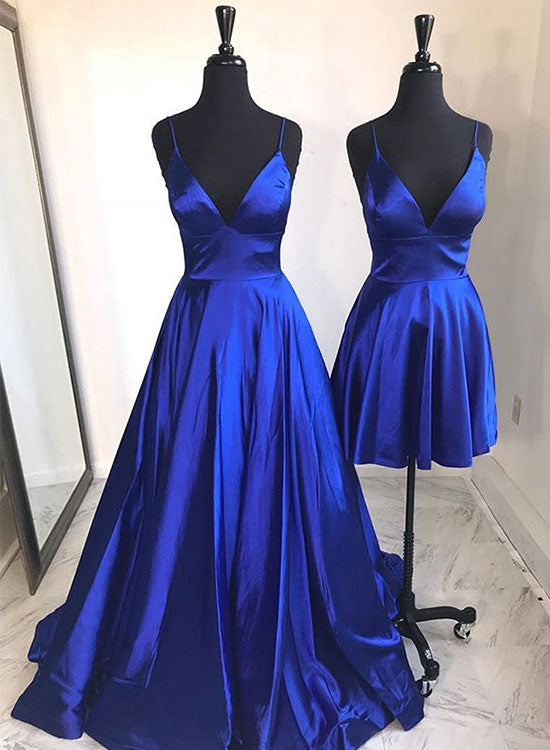 Simple blue v neck prom dress, evening dress