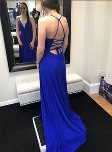 Blue v neck backless long prom dress, blue evening dress
