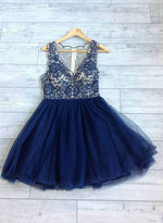 Cute dark blue lace short prom dress, lace evening dress