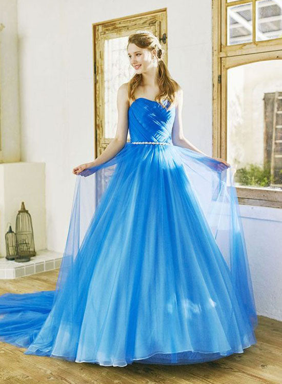 Blue chiffon long prom dress, blue evening dress