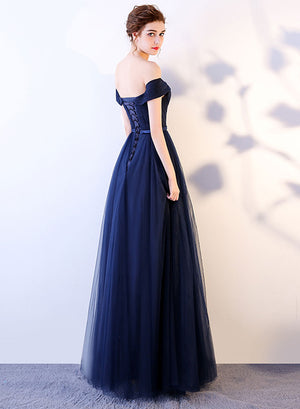 Dark blue tulle long prom dress, evening dress