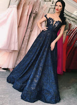 Blue lace long prom dress, blue evening dress