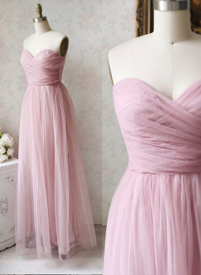 Pink tulle long A line prom dress pink evening dress