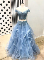 Blue lace tulle long prom dress, blue evening dress