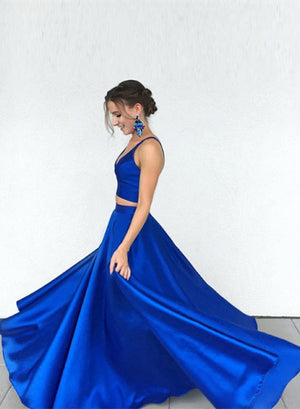 Stylish blue two pieces long prom dress, blue evening dress