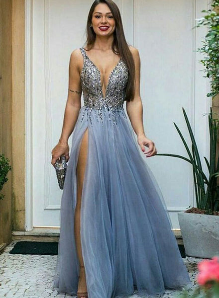 Blue v neck tulle sequins long prom dress, evening dress