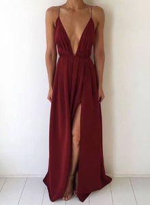 Simple burgundy A line v neck long prom dress, burgundy evening dress