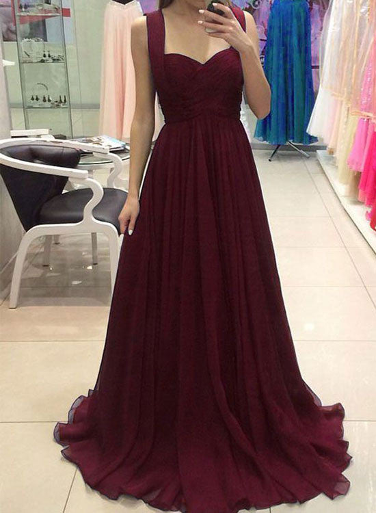 Simple burgundy chiffon long prom dress, A line evening dresses