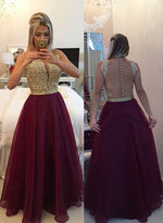 Burgundy A line lace long prom dress, formal dress