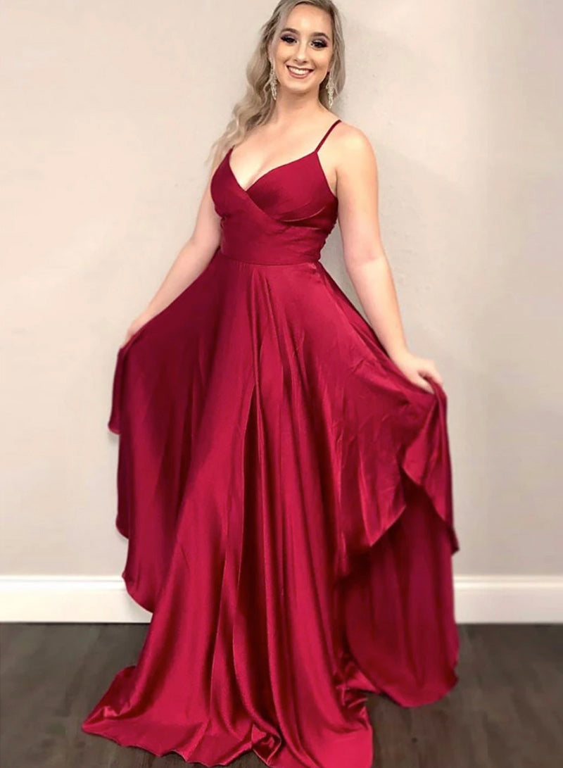 Burgundy A line irregular prom dress evening dress