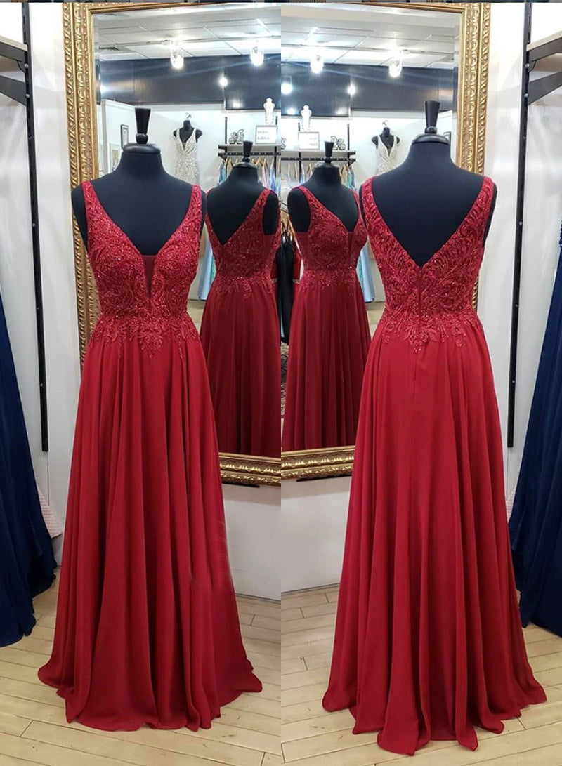 Burgundy chiffon lace long A line prom dress