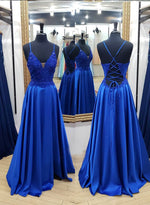 Blue satin lace long prom dress evening dress