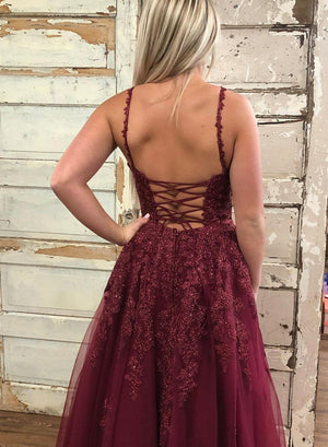 Burgundy v neck tulle lace long prom dress evening dress