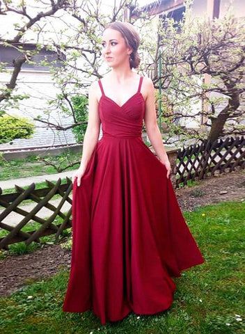 Burgundy v neck chiffon long prom dress, burgundy evening dress
