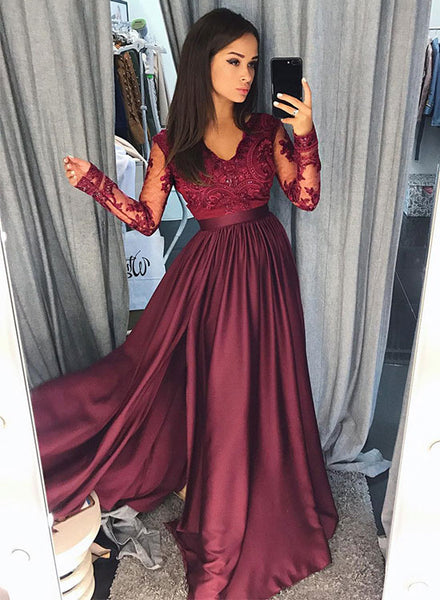 Burgundy long sleeve lace prom dress, burgundy evening dress