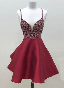 Cute burgundy v neck short prom dress, homecoming dress