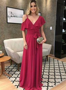 Unique burgundy v neck chiffon long prom dress, evening dress