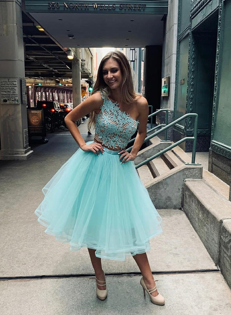 Blue lace prom dress two pieces evening dress