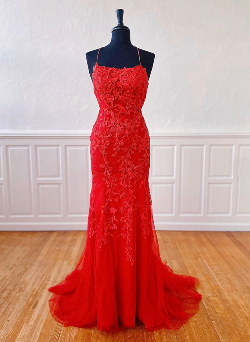 Mermaid lace long prom dress evening dress