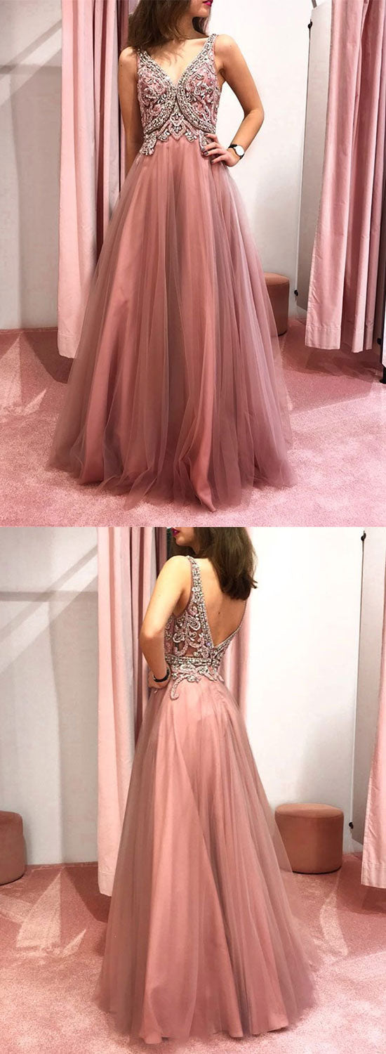 Pink v neck tulle beads long prom dress, pink evening dress