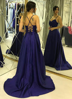 Simple blue v neck satin long prom dress, blue evening dress