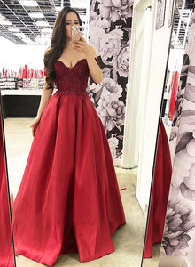 Burgundy lace satin long prom dress, lace evening dress