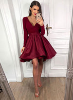 Burgundy short prom dress, long sleeve evening dress