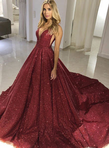 Sparkly v neck sequins long prom gown, evening dress