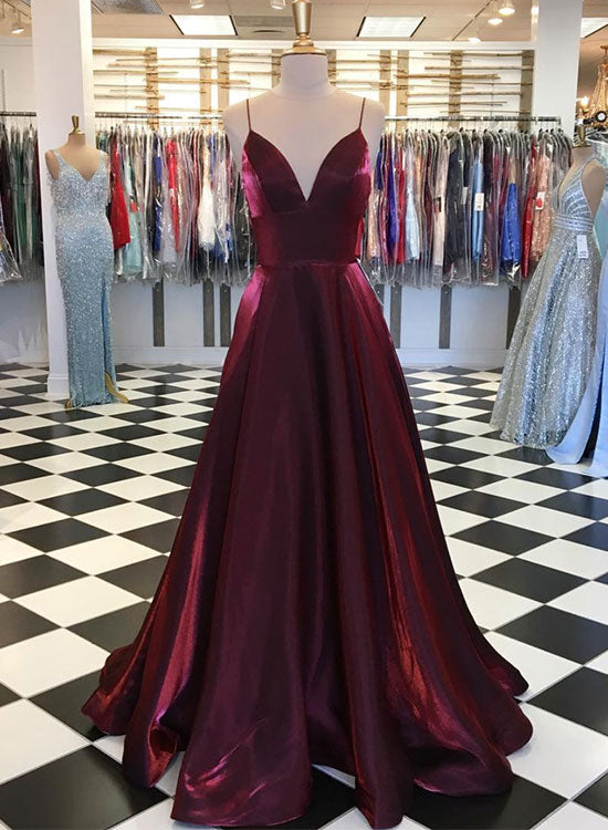 Simple burgundy satin long prom dress, burgundy evening dress
