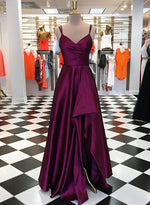 Dark purple v neck satin long prom dress, evening dress
