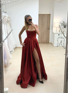 Simple burgundy satin long prom dress, evening dress