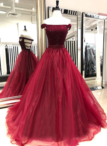 Burgundy tulle beaded long prom dress, burgundy evening dress