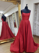Burgundy satin long prom dress formal dress