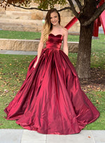Burgundy satin sweetheart neck long prom dress, burgundy evening dress