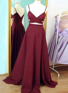 Simple burgundy chiffon v neck long prom dress, burgundy evening dress