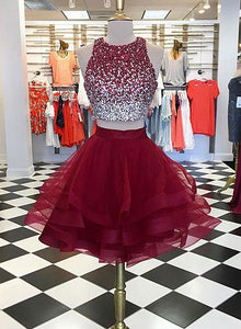 Burgundy two pieces short prom dress, homecoming dress