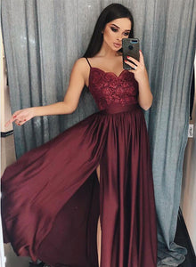 Burgundy v neck lace long prom dress, burgundy evening dress