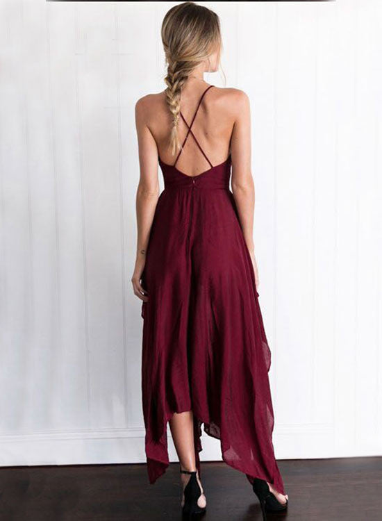 Burgundy A line chiffon v neck prom dress, evening dress