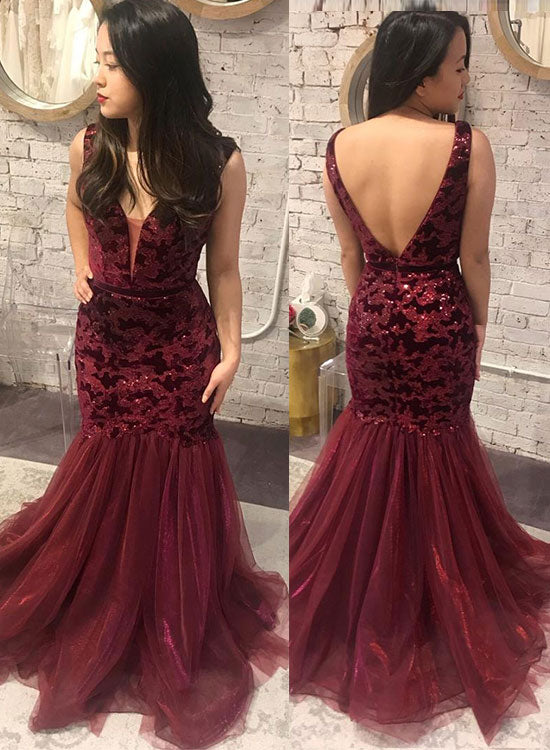 Burgundy lace sequins long prom dress, mermaid evening dress