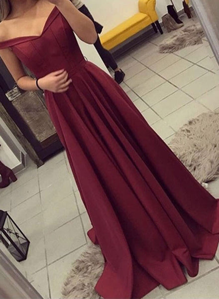 Burgundy off the shoulder long prom dresses, burgundy evening dress