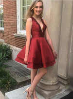 Cute A line burgundy v neck short prom dress, homecoming dress
