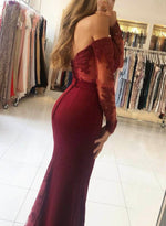 Burgundy prom dress long sleeve evening dress