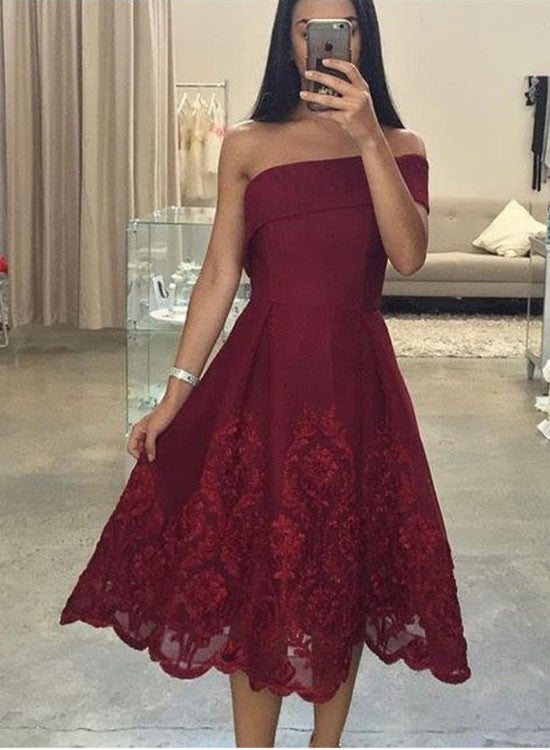 High quality burgundy lace tea length prom dress, fashion dress for girl