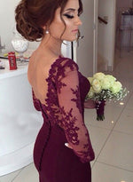 Burgundy long sleeve lace prom dress, mermaid long evening dress