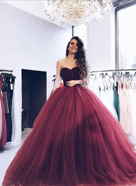 Burgundy tulle sweetheart neck long prom dress, ball gown