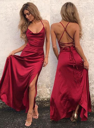 Simple burgundy long prom dress, burgundy evening dress