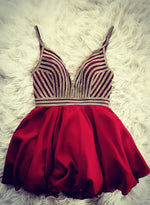 Burgundy v neck short prom dress, homecoming dress