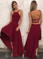 Simple A line high low long prom dress, evening dresses