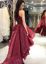 Burgundy high low prom dress evening dress